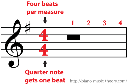 4/4 Time Signature Four beats per measure a whole rest gets four beats