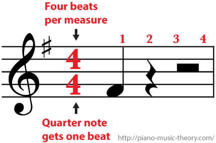 4/4 Time Signature Four beats per measure a quarter rest gets one beat and a half rest gets two beats